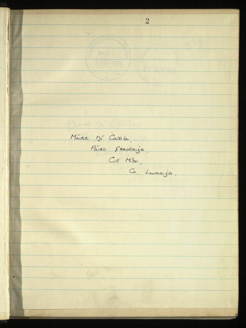 Ventry/Kilmeedy/Newcastle   The Main Manuscripts Collection