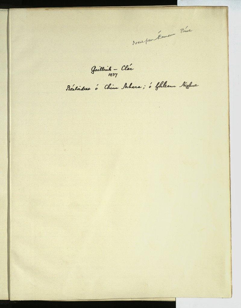 Abbey/Gleninagh/Annaghdown/Claregalway/Kinvarradoorus/Carrowroe; Carraroe | The Main Manuscripts Collection