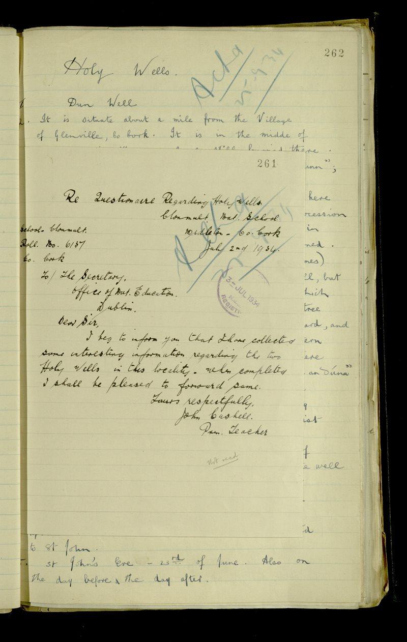 Re Questionnaire Regarding Holy Wells, Clonmult