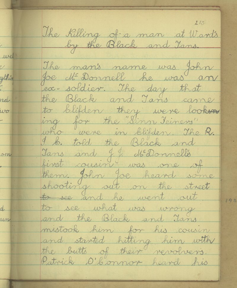 The Killing of a Man at Ward's by the Black and Tans