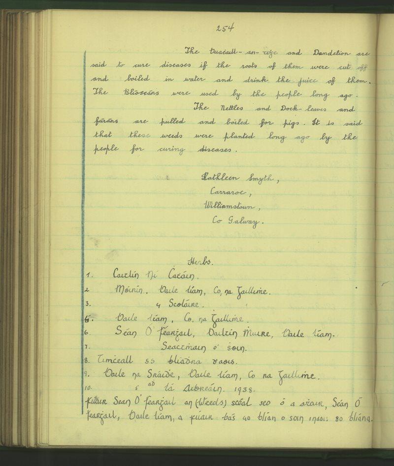 Baile Ruadh (Cailíní)   The Schools' Collection