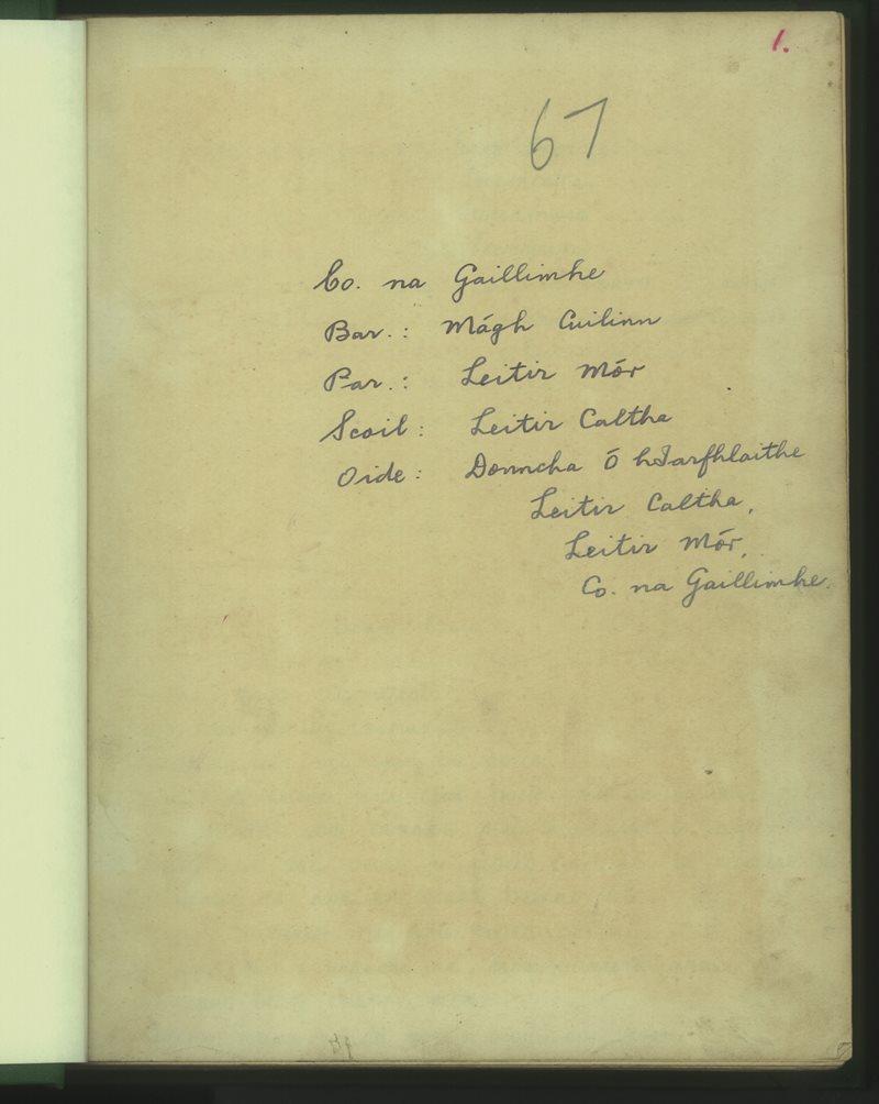 Leitir Caltha   The Schools' Collection