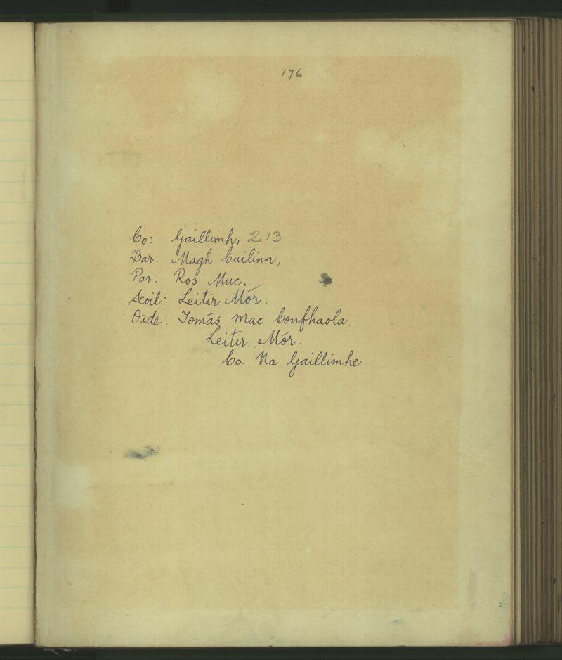 Leitir Mór | The Schools' Collection
