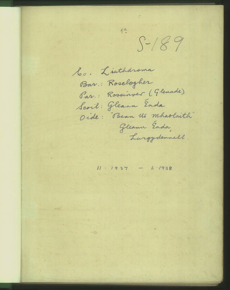 Gleann Éada | The Schools' Collection