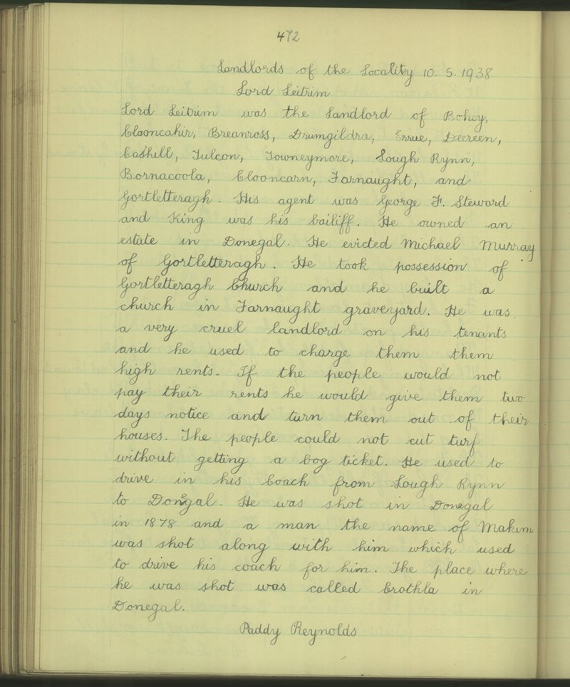 Landlords of the Locality - Lord Leitrim