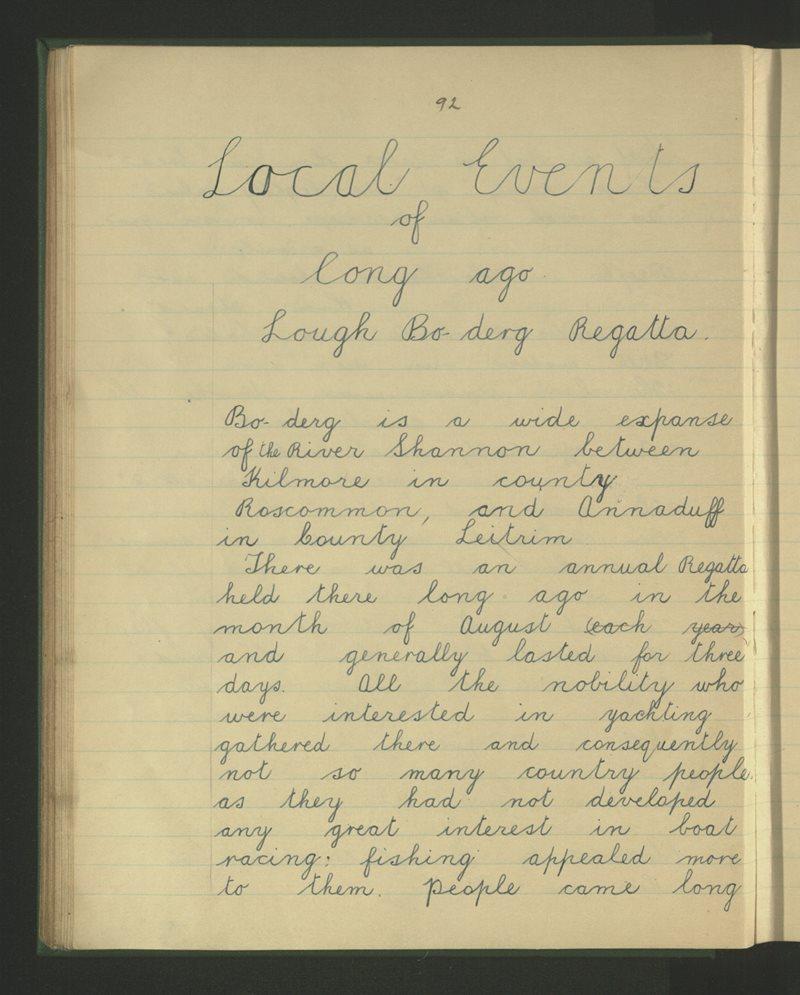 Local Events of Long Ago - Lough Boderg Regatta
