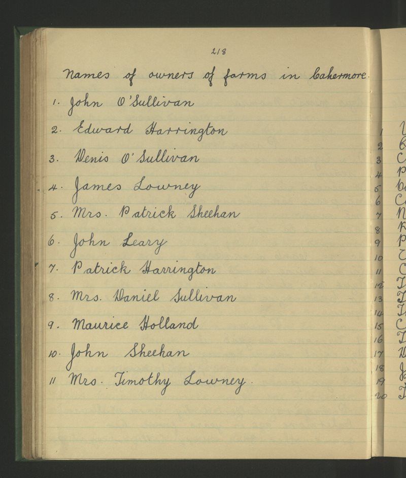 Names of Owners of Farms in Cahermore