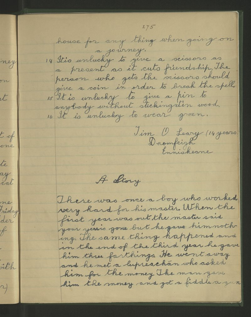 Connach, Inis Céin | The Schools' Collection