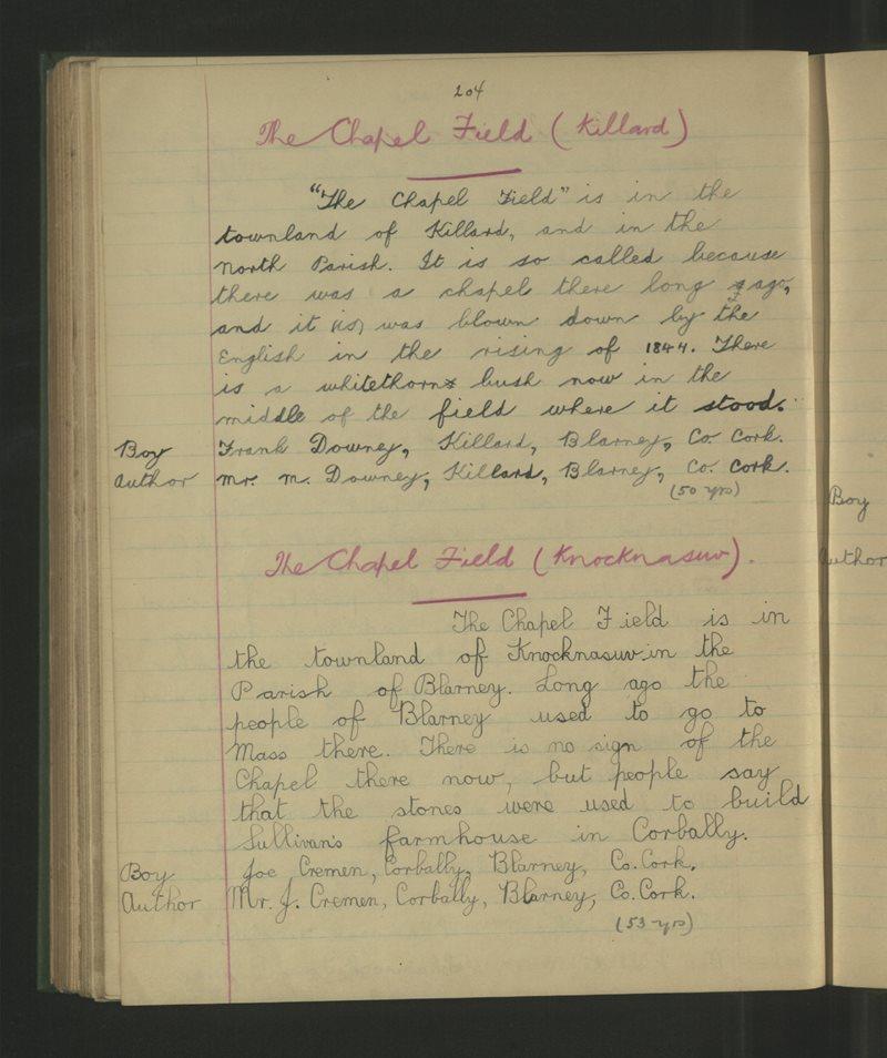 Colthurst, An Bhlárna | The Schools' Collection