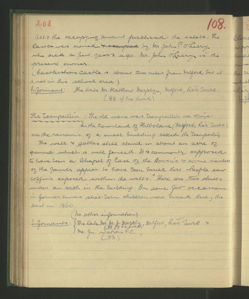 Cill Bheoláin (B.), Áth an Mhuilinn, Ráth Luirc | The Schools' Collection