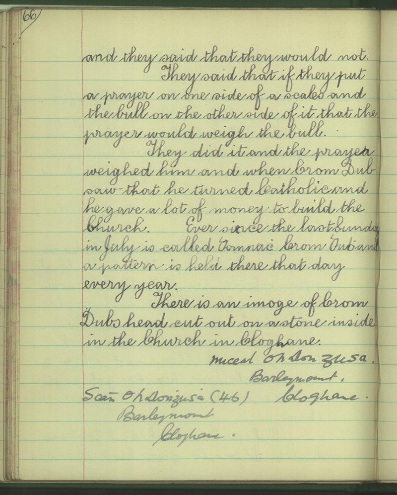 Baile Dubh, Caisleán Ghriaire | The Schools' Collection