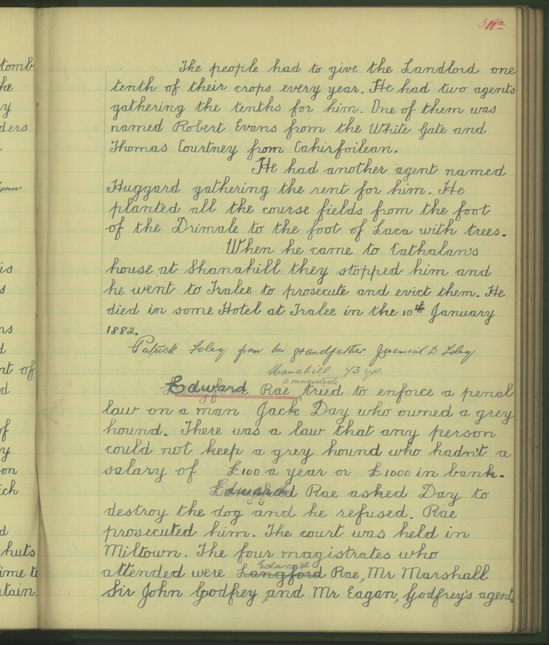 Fadhbach, Caisleán na Mainge | The Schools' Collection