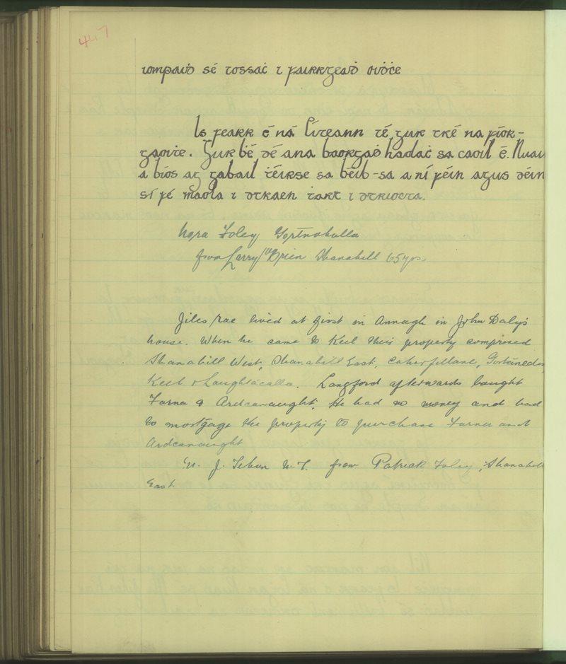 Fadhbach, Caisleán na Mainge | The Schools' Collection