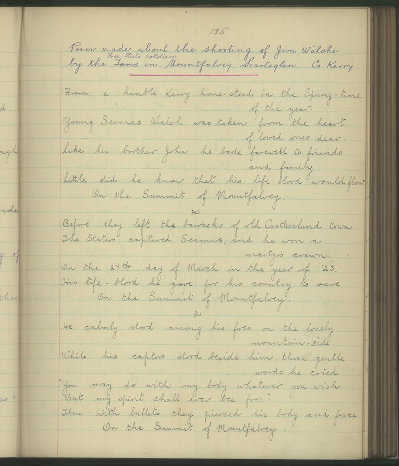 Poem Made about the Shooting of Jim Walshe by the Free State Soldiers in Mountfalvey, Scartaglen, Co. Kerry