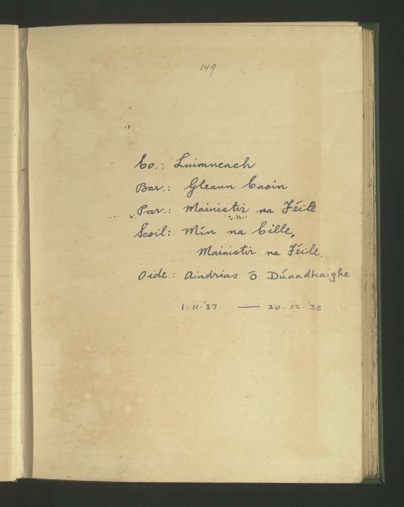 Mín na Cille, Mainistir na Féile | The Schools' Collection