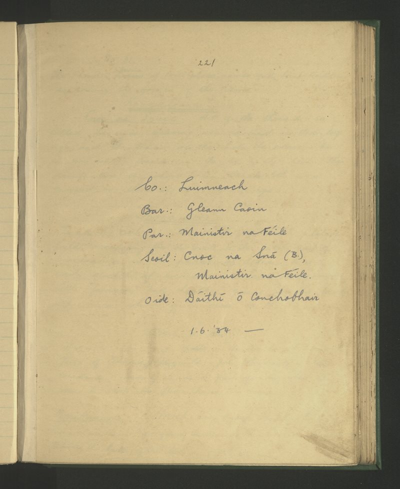 Cnoc na Sná (B.), Mainistir na Féile | The Schools' Collection