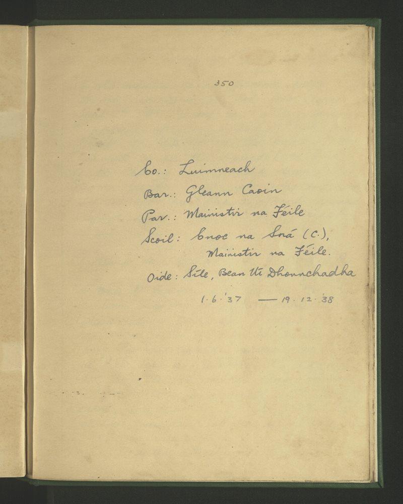 Cnoc na Sná (C.), Mainistir na Féile | The Schools' Collection