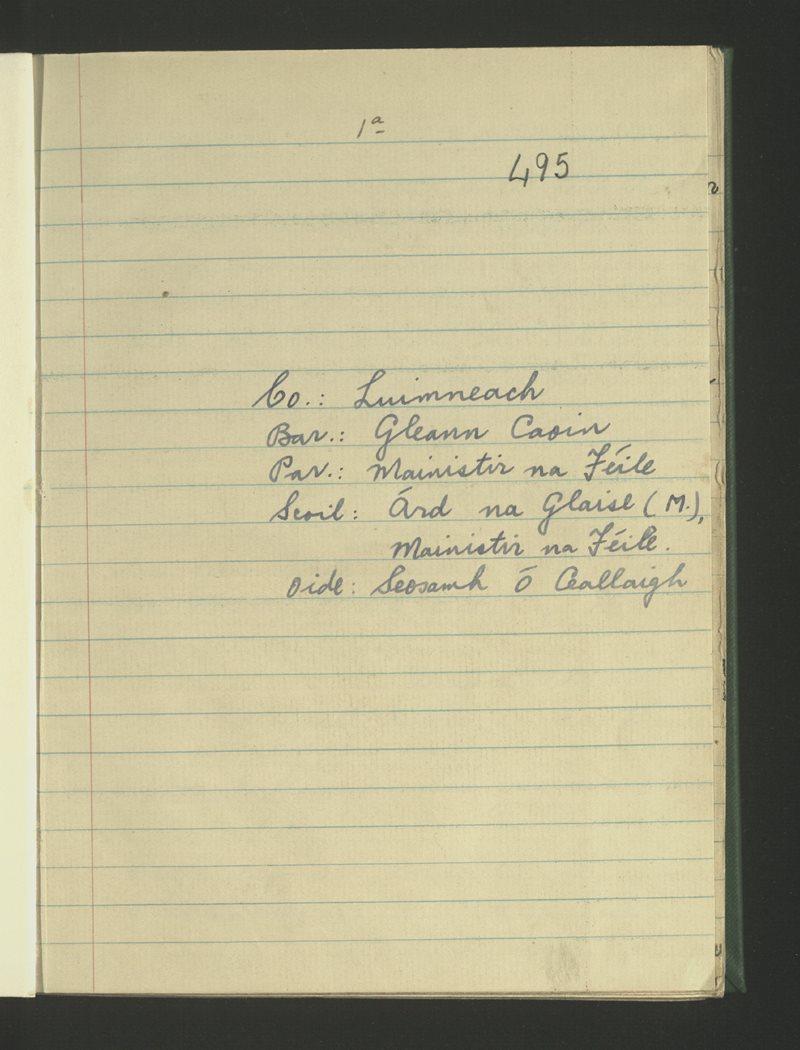 Árd na Glaise (M.), Mainistir na Féile | The Schools' Collection