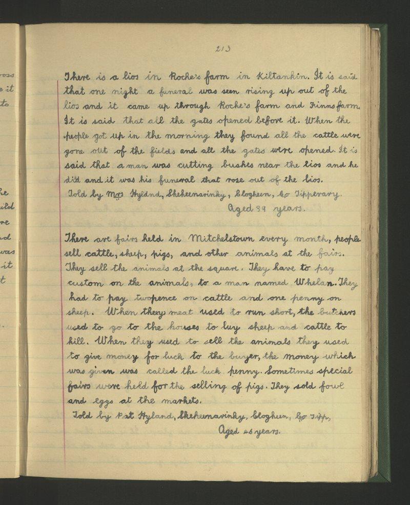 Sceichín an Rince, Cloichín an Mhargaidh   The Schools' Collection