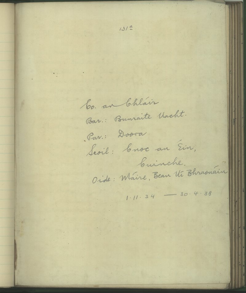 Cnoc an Éin, Cuinche | The Schools' Collection