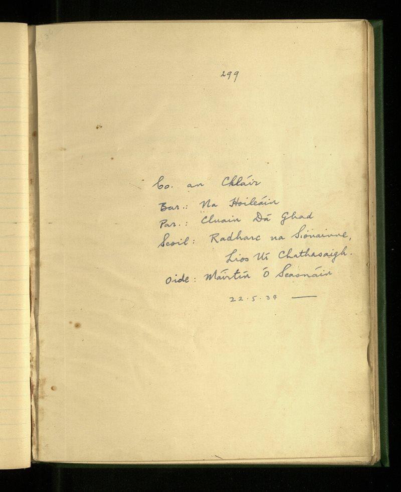 Radharc na Sionainne, Lios Uí Chathasaigh   The Schools' Collection