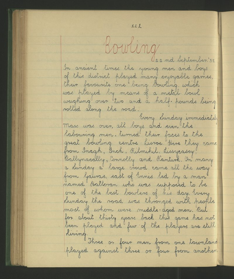 An Lios Rua, Cill Mháille | The Schools' Collection