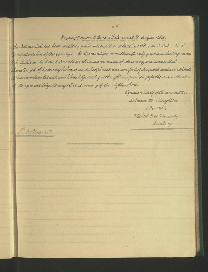 Inscriptions on O'Brien's Testimonial St Brigid's Well