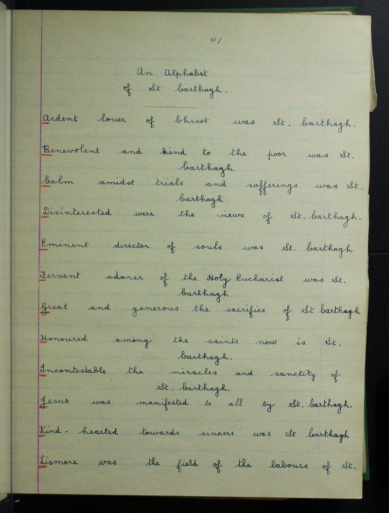 An Alphabet of St Carthagh
