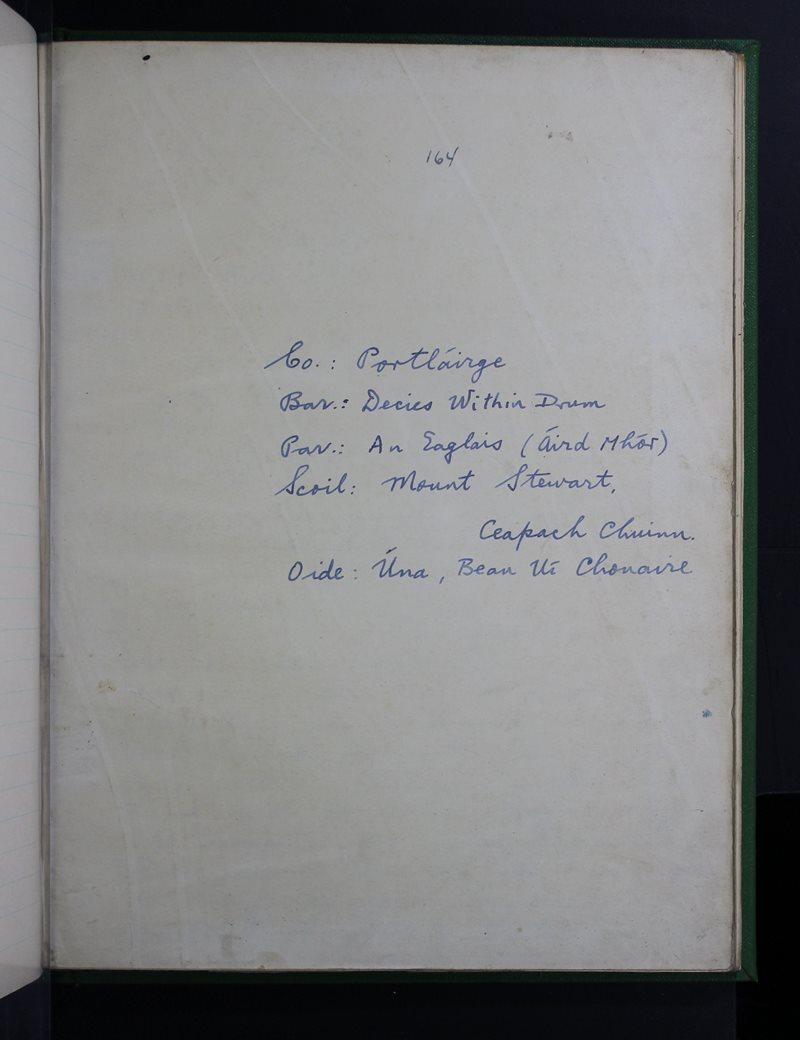 Mount Stewart, Ceapach Chuinn | The Schools' Collection