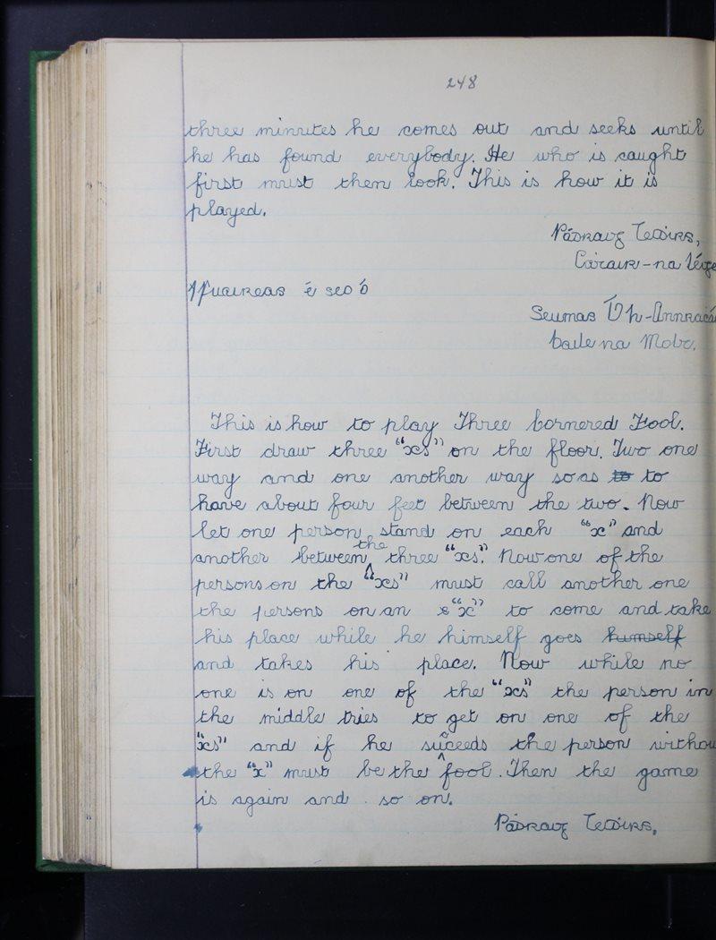 Tuar an Fhíona, Cluain Meala   The Schools' Collection