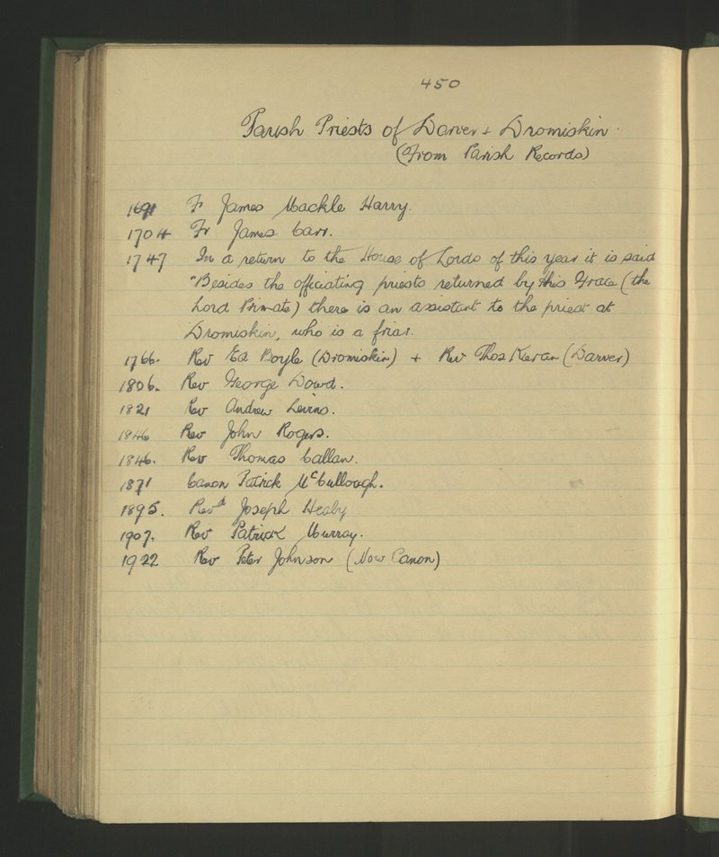 Parish Priests of Darver and Dromiskin (from Parish Records)