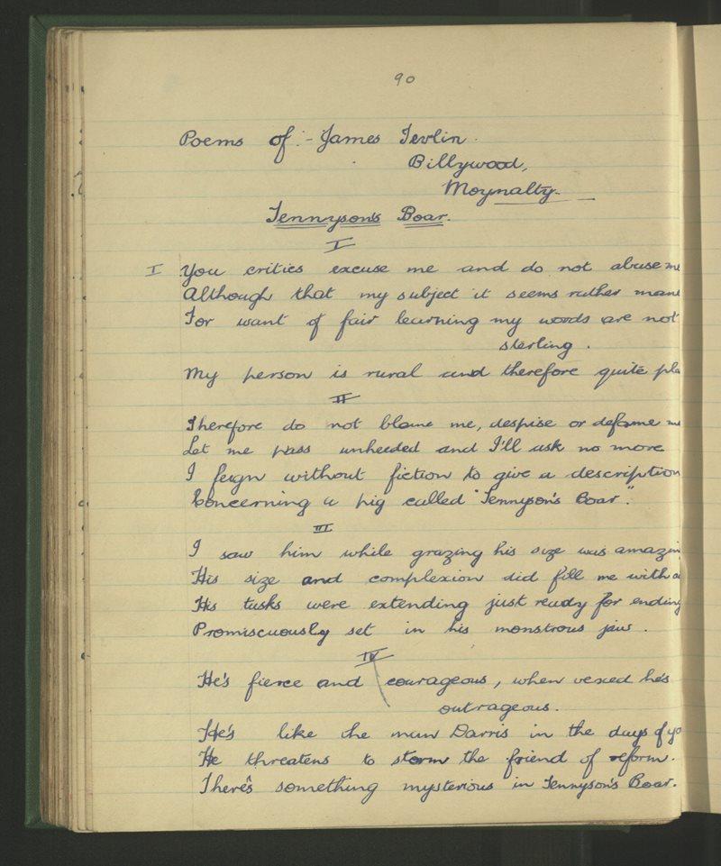 Poems of James Tevlin, Billywood, Moynalty - Tennyson's Boar