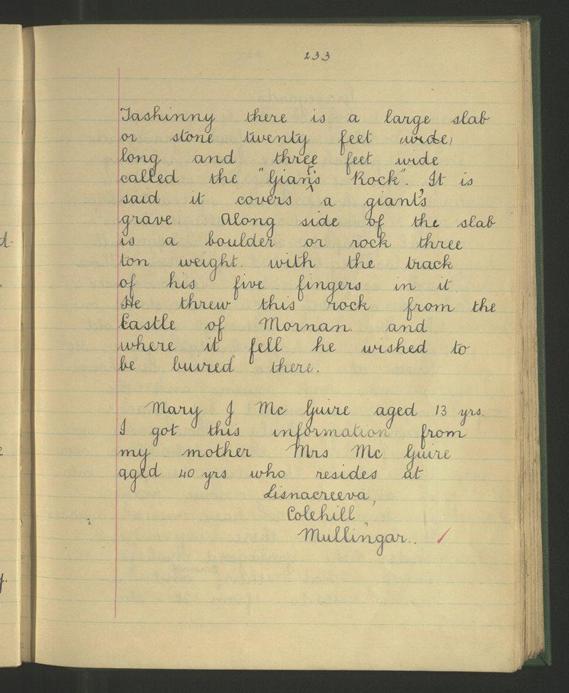 Colehill (C.), Mullingar   The Schools' Collection