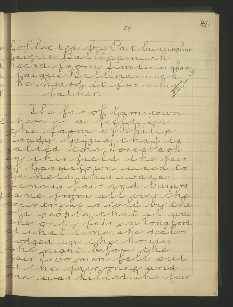 Gaigue (B.), Ballinamuck | The Schools' Collection
