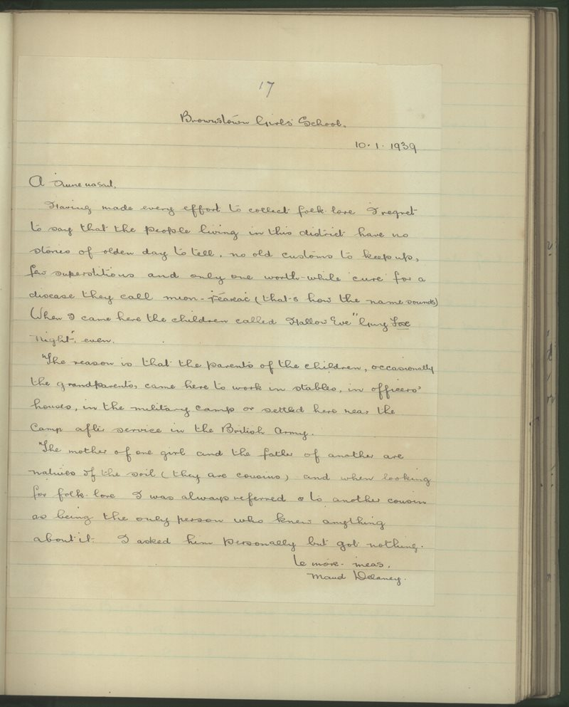 Brownstown (C.), Curragh Camp   The Schools' Collection