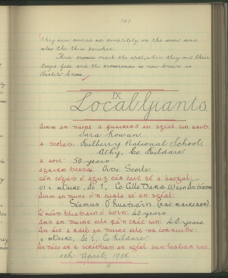 Kilberry, Athy | The Schools' Collection