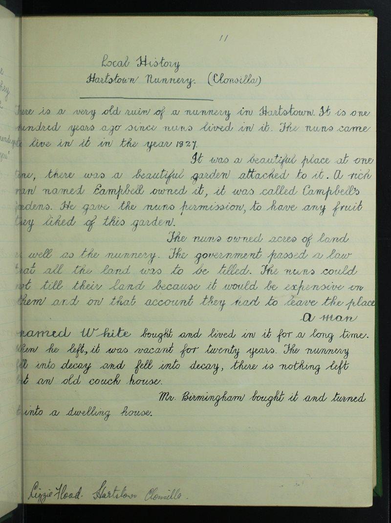 Local History - Hartstown Nunnery - Clonsilla