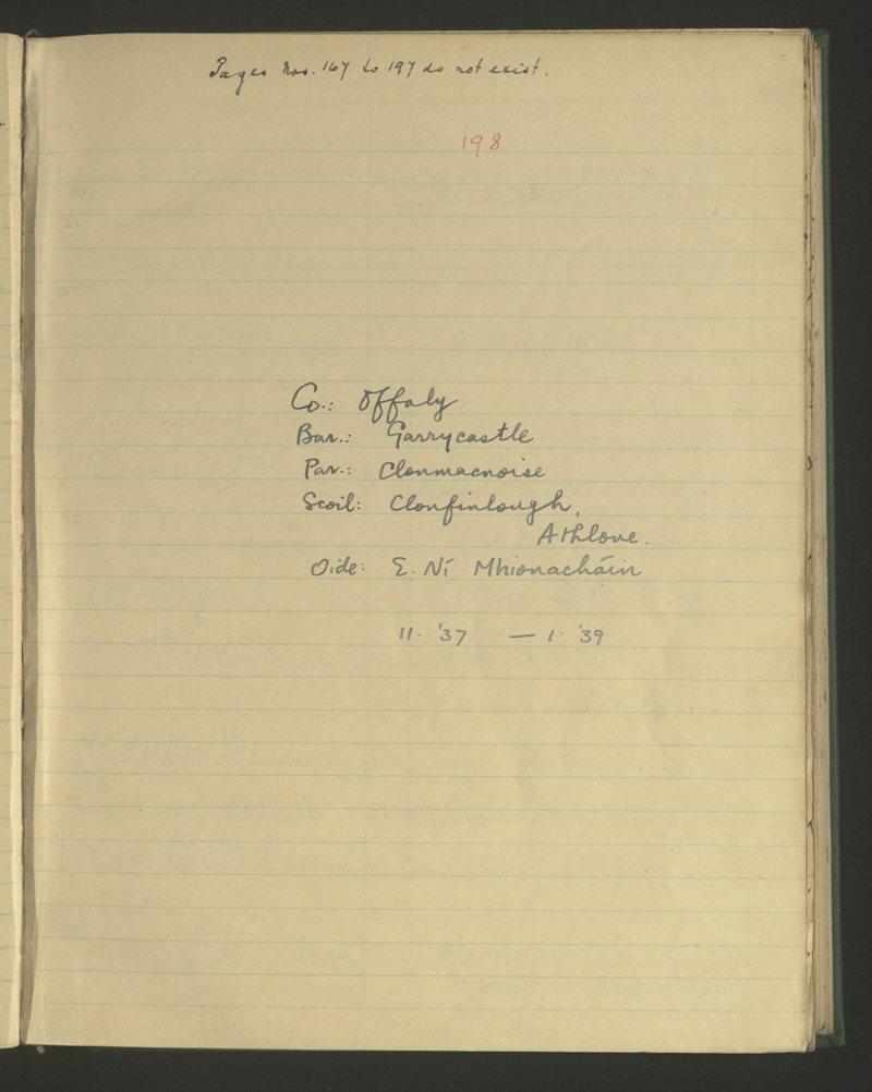 Clonfinlough, Athlone   The Schools' Collection