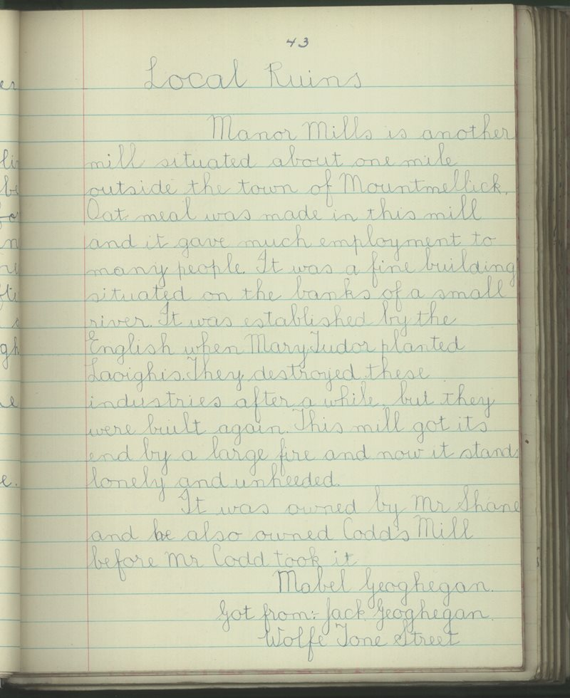 Mountmellick Convent   The Schools' Collection