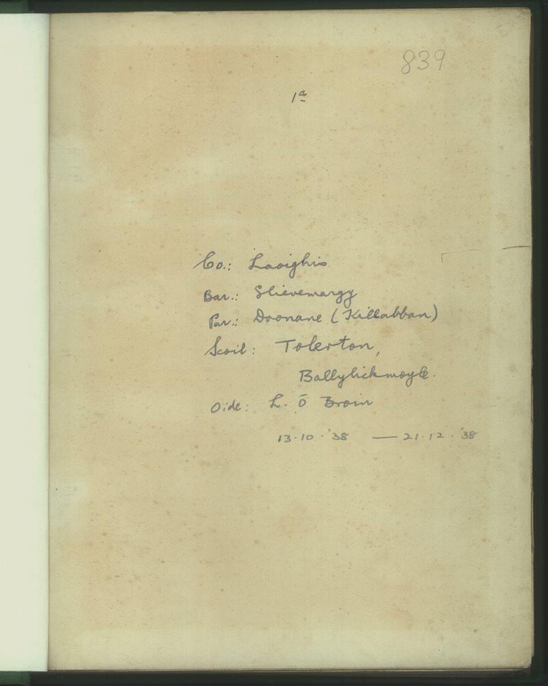 Tolerton, Ballylickmoyler | The Schools' Collection