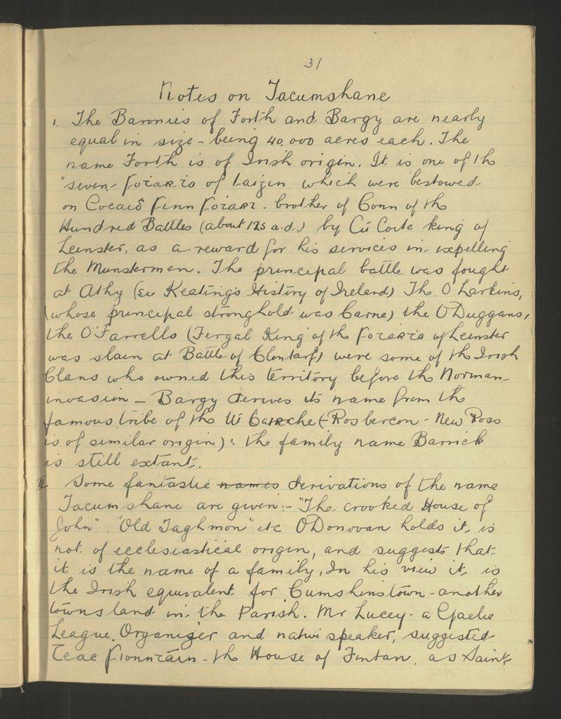 Notes on Tacumshane