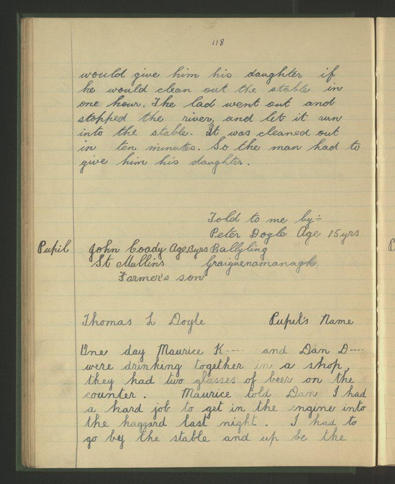 An Gleann, Graiguenamanagh | The Schools' Collection