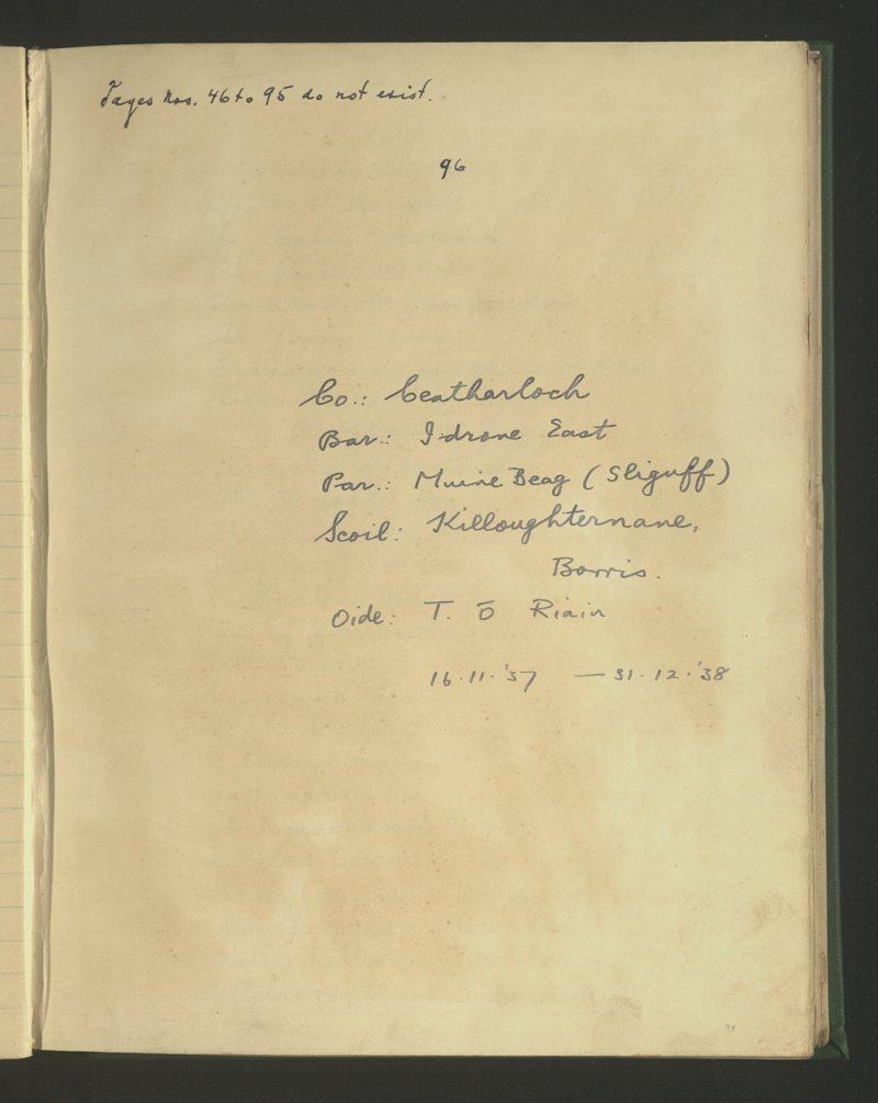 Killoughternane, Borris | The Schools' Collection