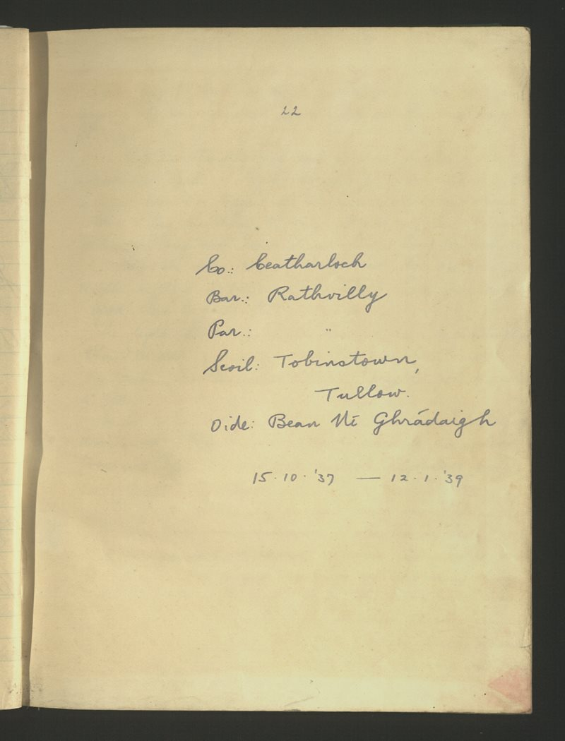 Tobinstown, Tullow   The Schools' Collection