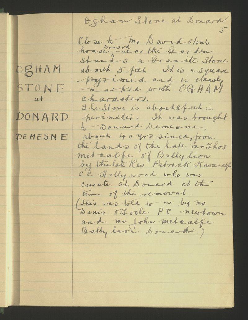 Ogham Stone at Donard Demesne
